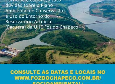 Plano de uso do reservatório da UHE Foz do Chapecó está à disposição para a população